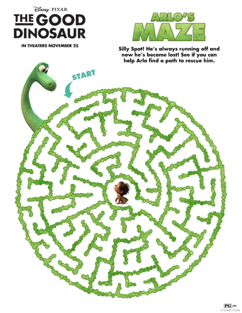 maze activity, dinosaurs