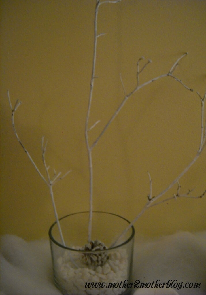 winter decorating, painted branches, snowy branches