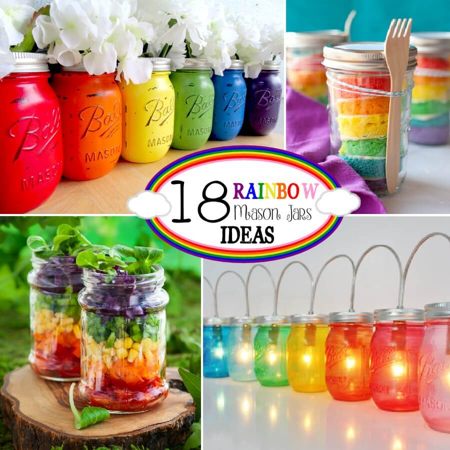 spring decorating ideas, mason jar ideas, rainbows