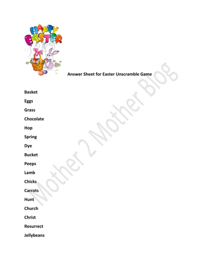Image-Unscramble-Easter-Answer-Sheet