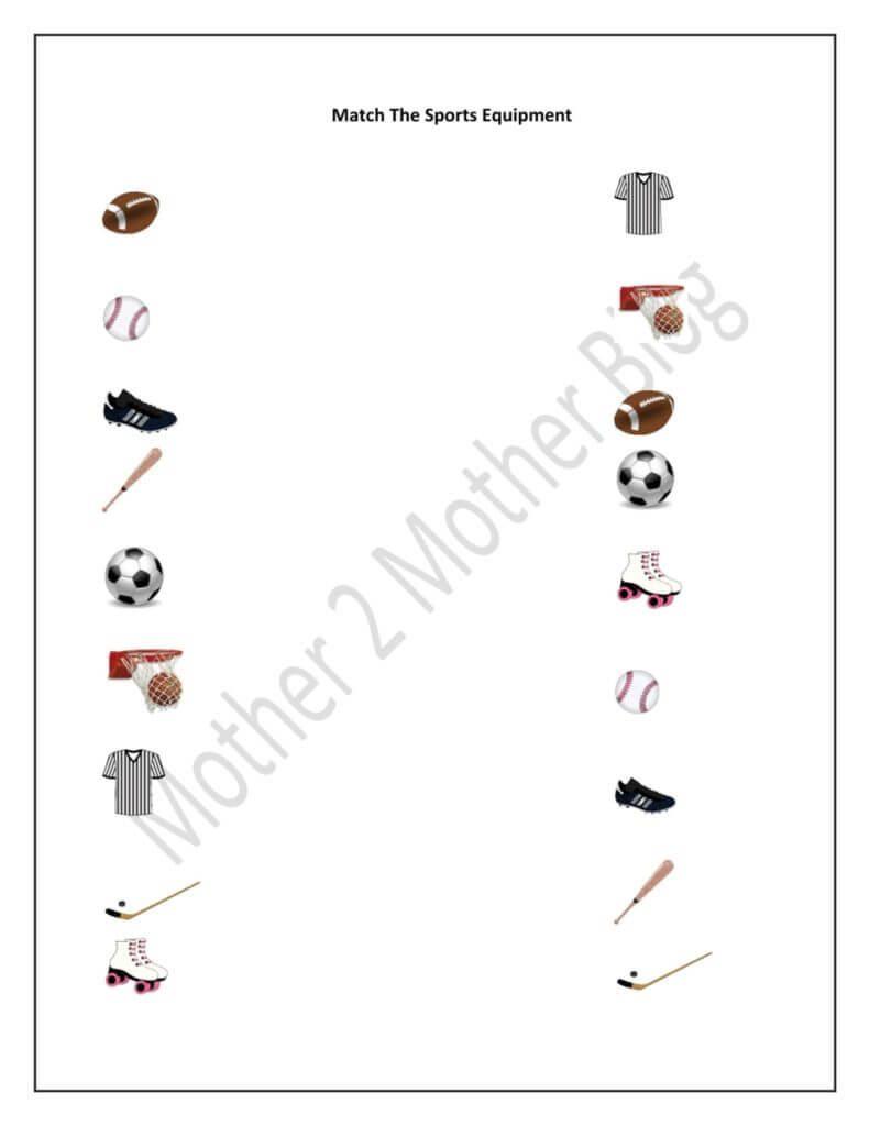 Soccer Worksheets For Preschoolers Matching Soccer Best