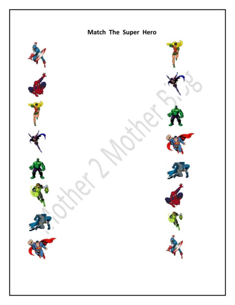Kindergarten Super Hero and Sports Matching Printables ...