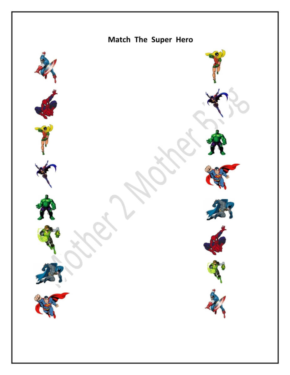 kindergarten super hero and sports matching printables mother2motherblog. Black Bedroom Furniture Sets. Home Design Ideas