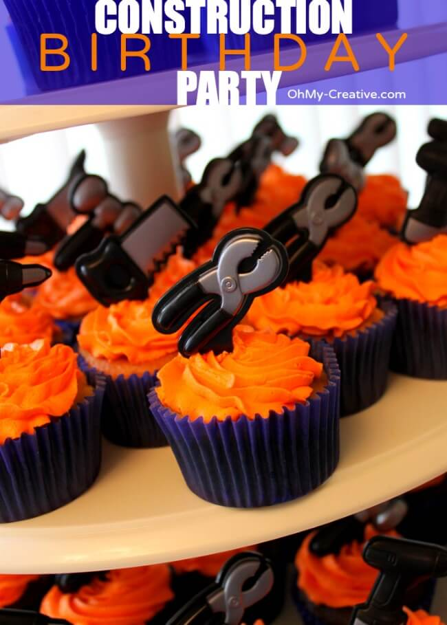 birthday party ideas, construction party cupcake idea