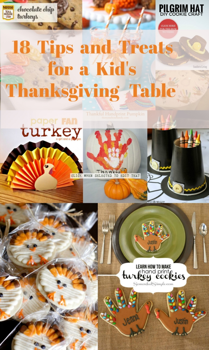 tips and treats for a kid's Thanksgiving table