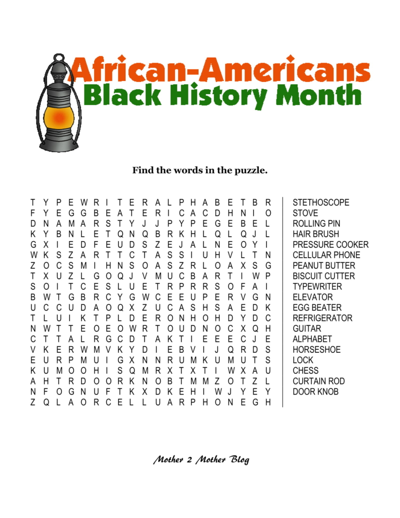 Refreshing image intended for black history word search printable